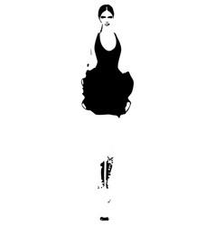 Woman in a black dress fashion models sketch vector