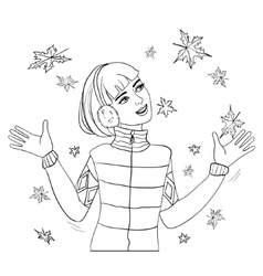 Woman looking on autumn maple leaves falling down vector image