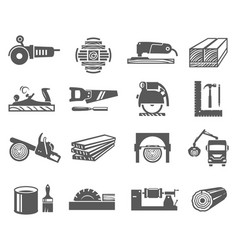 woodworking industry bold black silhouette icons vector image