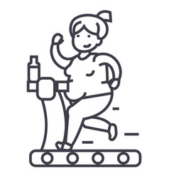 fat woman running in gym line icon sign vector image