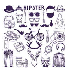 hand drawn style doodle set of hipster elements vector image