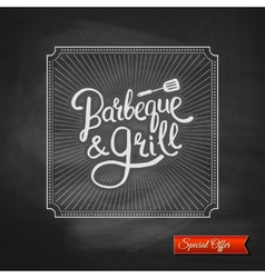 Poster of Barbecue and Grill on Black Chalkboard vector image vector image