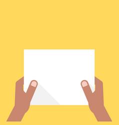 two dark-skinned hands holding white sheet vector image vector image