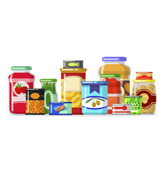 canned goods in a row vector image