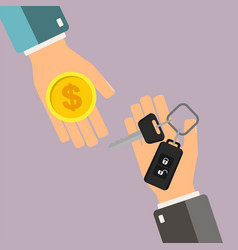 car rental or sale concept hand of agent hold car vector image