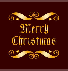 golden merry christmas lettering badge over vector image