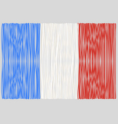 hand drawn french flag vector image