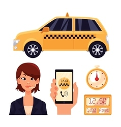 Icon set with the service taxi dispatcher and vector image