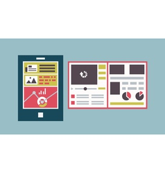 Responsive web template interface of mobile device vector