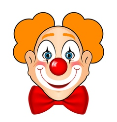 smiling clown with red bow vector image vector image