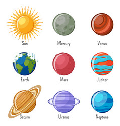solar system planets and the sun with names vector image vector image