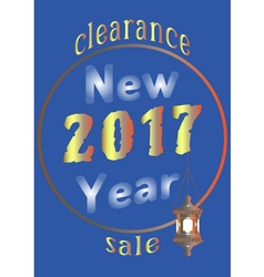 2017 New Year sale with an old lantern vector image vector image
