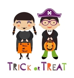 A happy Halloween kids couple vector image