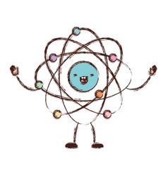 atom cartoon kawaii in colorful blurred silhouette vector image vector image