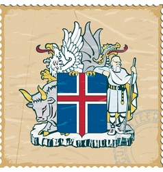 Coat of arms of Iceland on the old postage stamp vector image vector image