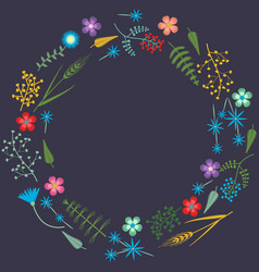 embroidery frame pattern with forest plants vector image