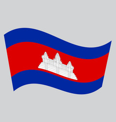flag of cambodia waving on gray background vector image vector image
