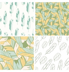 four seamless patterns with feather vector image