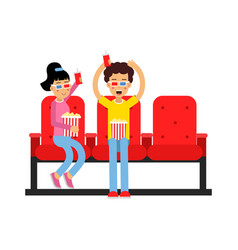 happy boy and girl sitting in the cinema and vector image