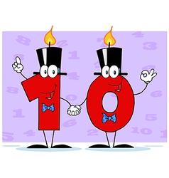 Number Ten Candles Cartoon Character vector image vector image