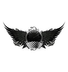 Wings black racing emblem vector