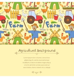 farm elements in doodle style vector image