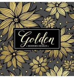 Floral golden seamless pattern vector image vector image