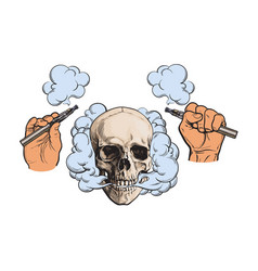 smoke coming out of skull electronic cigarettes vector image vector image