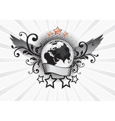 Winged Planet Emblem vector image