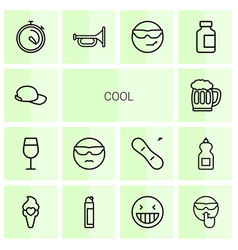 14 cool icons vector