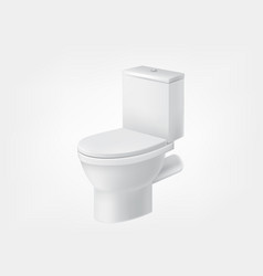3d realistic toilet bowl lid white mockup vector image