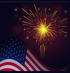 4th of july yellow red fireworks and flag vector image