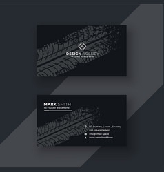 Abstract dark business card with tire mark vector