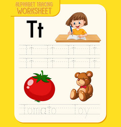 alphabet tracing worksheet with letter t and t vector image