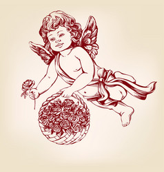 angel or cupid little baby fly and gives flowers vector image