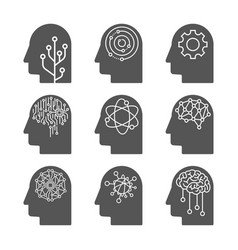 artificial intelligence icon set ai heads deep vector image