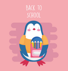 back to school education penguin with pencils vector image