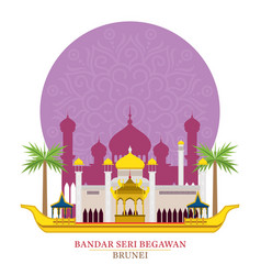 Bandar seri begawan brunei with decoration vector