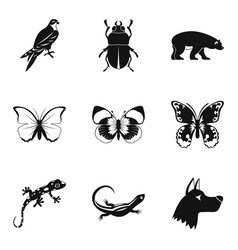 beetle icons set simple style vector image