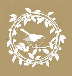 Blackthorn berries branches leaves and robin bird vector