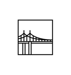 bridge square logo icon line outline monoline vector image