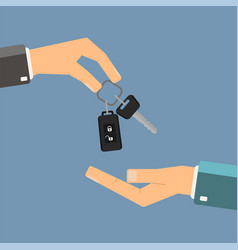 car rental or sale concept hand of agent holding vector image