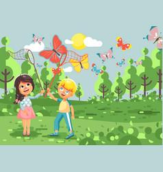 Cartoon character two children vector