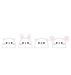 cat kitten kitty mouse bear rabbit hare face set vector image