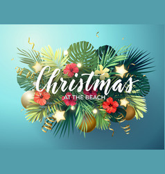 christmas on summer beach design with monstera vector image
