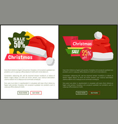 Christmas sale santa hats on promo labels vector