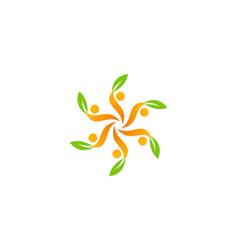 Circle people green leaf logo vector