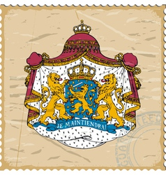 Coat of arms of Netherlands on postage stamp vector