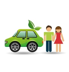 Couple with eco car green design vector