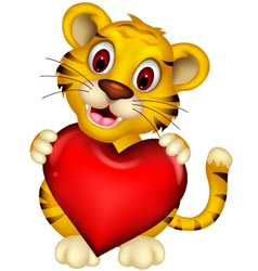 cute baby tiger posing with heart love vector image vector image